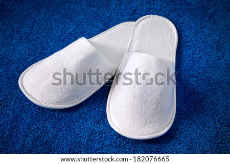 White home slippers lying on blue rug - stock photo