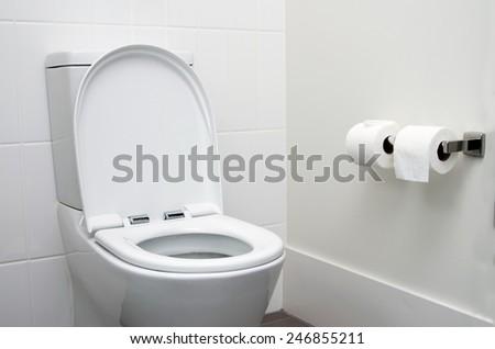 white home toilet closeup - stock photo