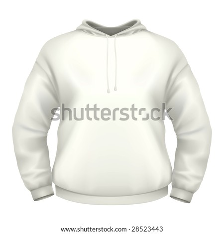 White hoodie isolated on white background (clipping path). - stock photo