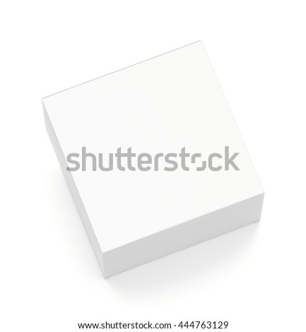 White horizontal rectangle blank box from top angle. 3D illustration isolated on white background.