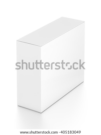 White horizontal rectangle blank box from top far side angle. 3D illustration isolated on white background.