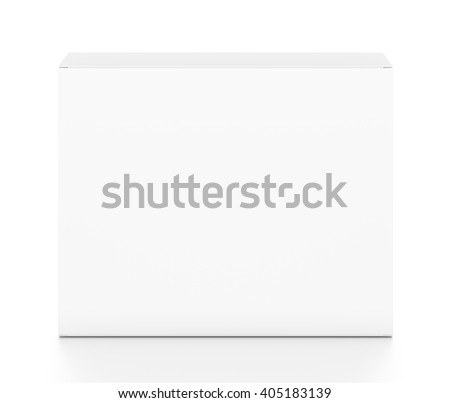 White horizontal rectangle blank box from top front angle. 3D illustration isolated on white background. - stock photo