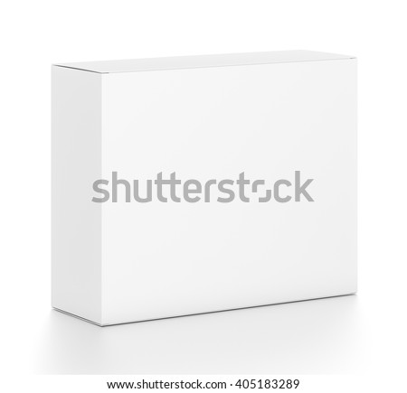 White horizontal rectangle blank box from top front side angle. 3D illustration isolated on white background. - stock photo