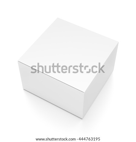 White horizontal rectangle blank box from top side angle. 3D illustration isolated on white background.