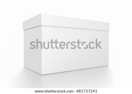 White horizontal rectangle blank box with cover from side closeup angle. 3D illustration isolated on white background.