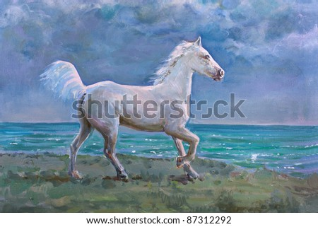 White horse galloping on shore, painting