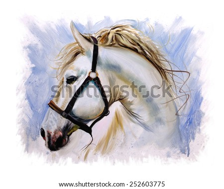 White Horse peaceful painting - stock photo