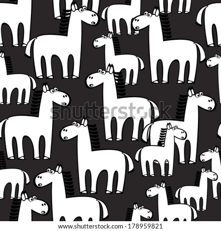 white horse seamless pattern