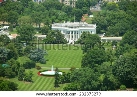 White House Aerial View from the top of Washington Monument, Washington DC, USA - stock photo