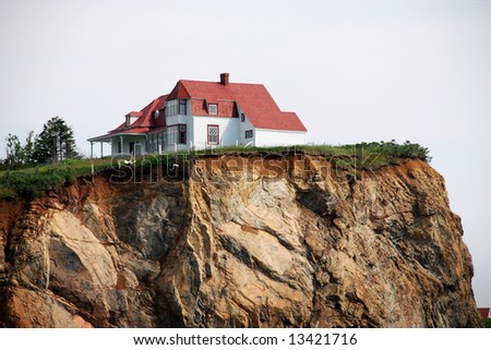 White House at the top of the cliff - stock photo