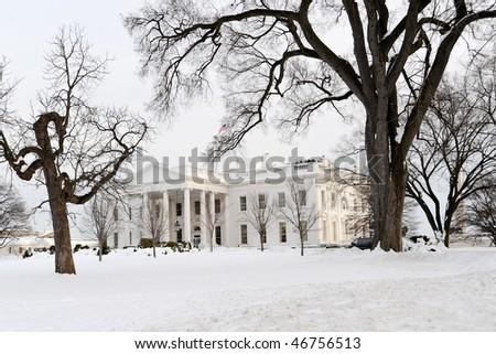 White House in Snow - stock photo
