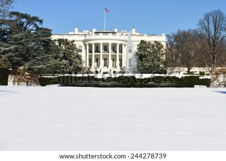White House in Winter - Washington DC, USA - stock photo
