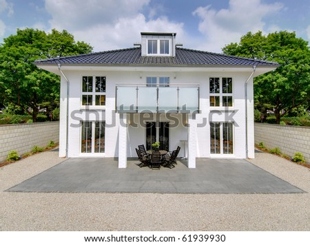 White House Luxury Stone Garden - stock photo