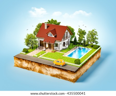 White house of dream on a piece of earth with white fence, garden, pool  and trees. Unusual 3d illustration