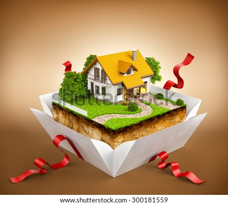 White house on a piece of earth with garden and trees in a gift box - stock photo