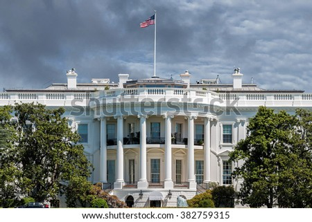 White House on deep blue sky background - stock photo