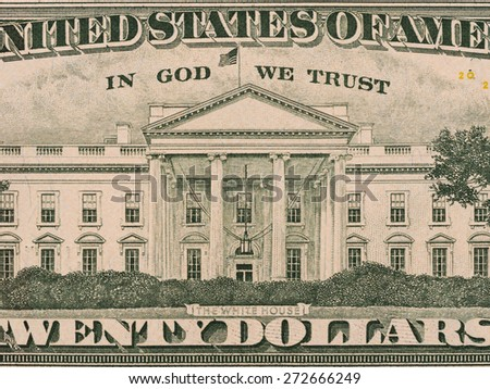 White house on the us twenty dollar bill macro, united states money closeup - stock photo