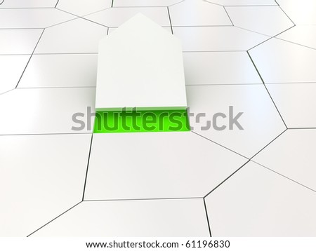 White house puzzle over green. 3d rendered image - stock photo