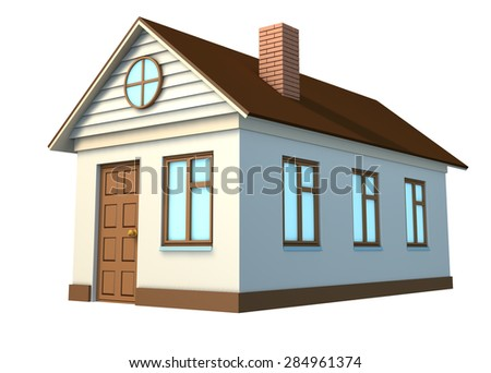 White house brown roof on isolated stock illustration for Building houses with side views