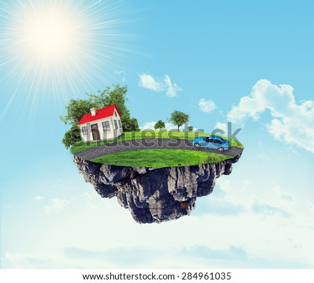 White house with car and road on island in the sky with clouds - stock photo