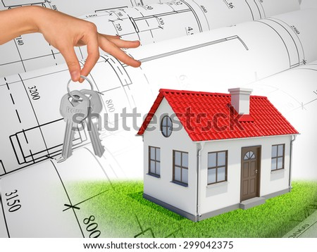 White house with red roof and chimney and hand holding key on abstract background with drafts - stock photo