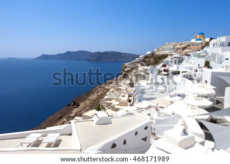 White houses and blue domes of Oia, Santorini.