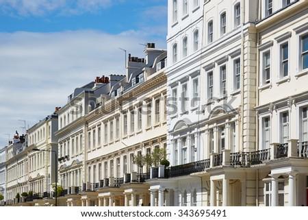 White houses facades in London, english architecture  - stock photo