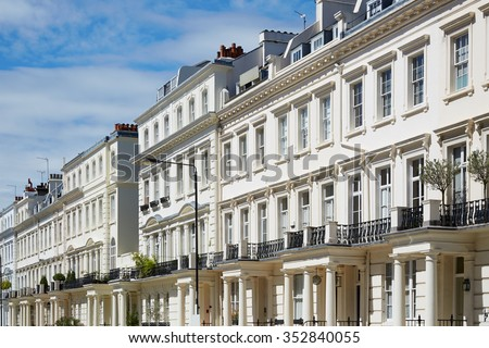 White houses facades in London, english architecture
