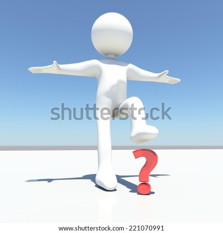white human character presses and break a red question mark - stock photo
