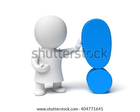 white human 3d character wearing a gown holding a blue exclamation mark in a white scene (3D illustration isolated on a white background)