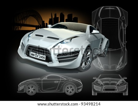 White hybrid sports car. Original car design. - stock photo