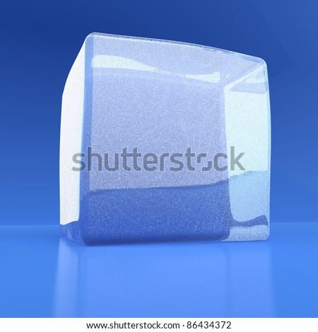 White ice cube on a blue reflecting background - stock photo