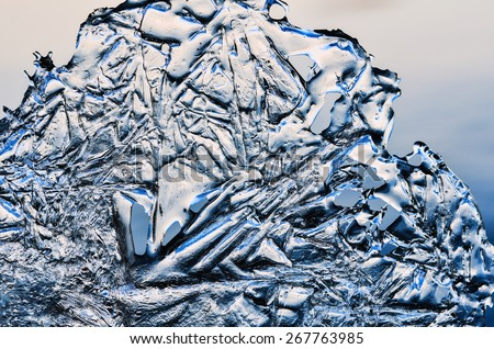 White ice frozen water natural background  - stock photo