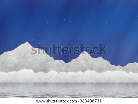 white ice mountains near water