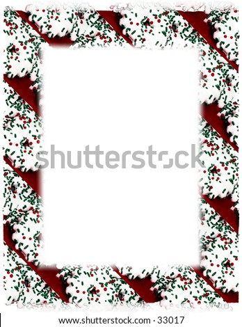 White Iced Christmas Cookie Frame on White.