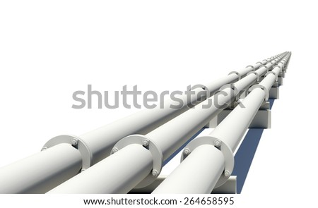 White industrial pipes stretching into distance. Isolated on white background - stock photo