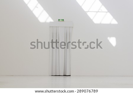 White industrial warehouse - stock photo
