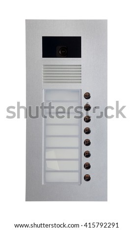 White inner audio and video panel for outdoor installation. Intercom system isolated on white background - stock photo