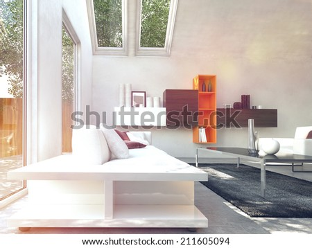White Inspired Cosy Modern Design Living Room With Class Table At Center.