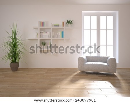white interior concept-3D rendering - stock photo