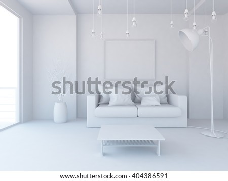White interior. 3d illustration