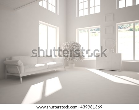 white interior.3D illustration