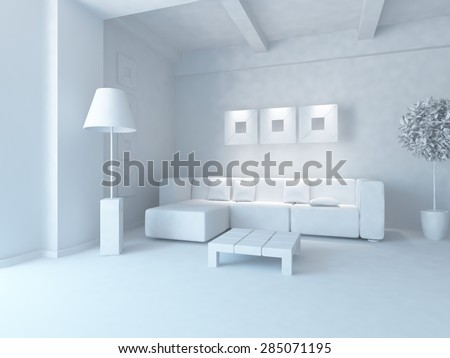 White interior. 3D rendering - stock photo