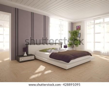 white interior design of bedroom -3D illustration - stock photo