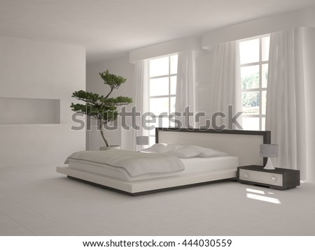 white interior design of bedroom. Scandinavian interior. 3D illustration - stock photo