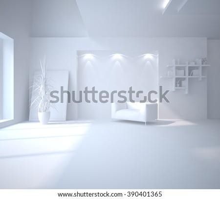 white interior design of living room - 3d illustration - stock photo