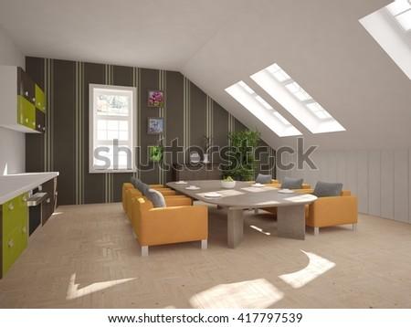 Furniture Design Living Room 3d strange living room interior 3d design stock illustration