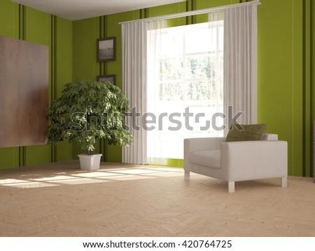 white interior design of living room -3D illustration - stock photo