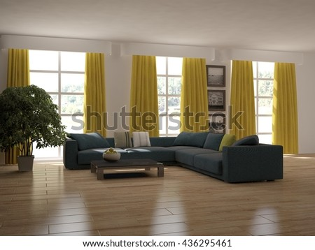white interior design of living room with blue furniture.3D illustration