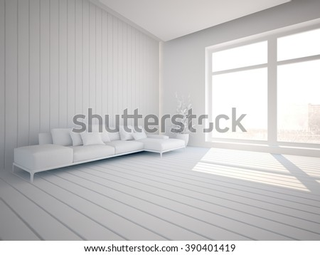 white interior design of living room with furniture - 3d illustration - stock photo